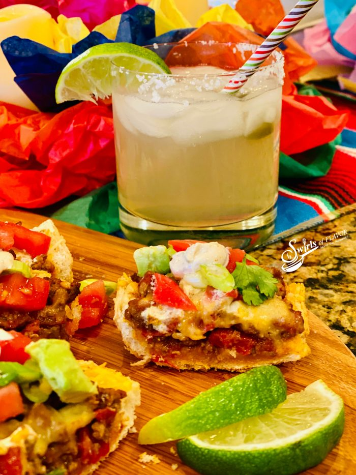 Stuffed Taco Bread with margarita