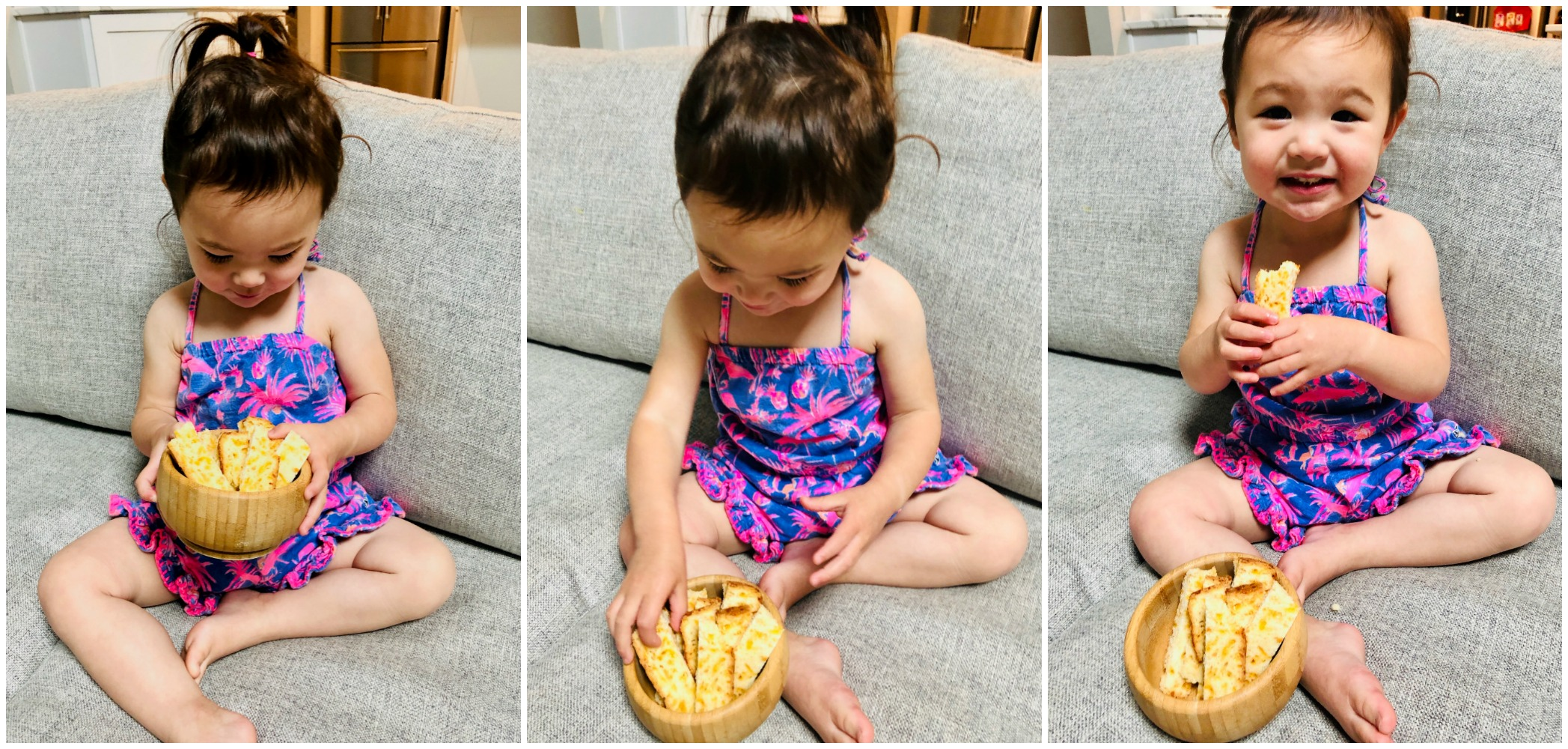 Three pictures of little girl with pieces of cheddar bacon bread