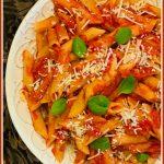 penne marinara pasta with text overlay