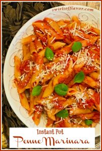 penne marinara pasta with text overlay