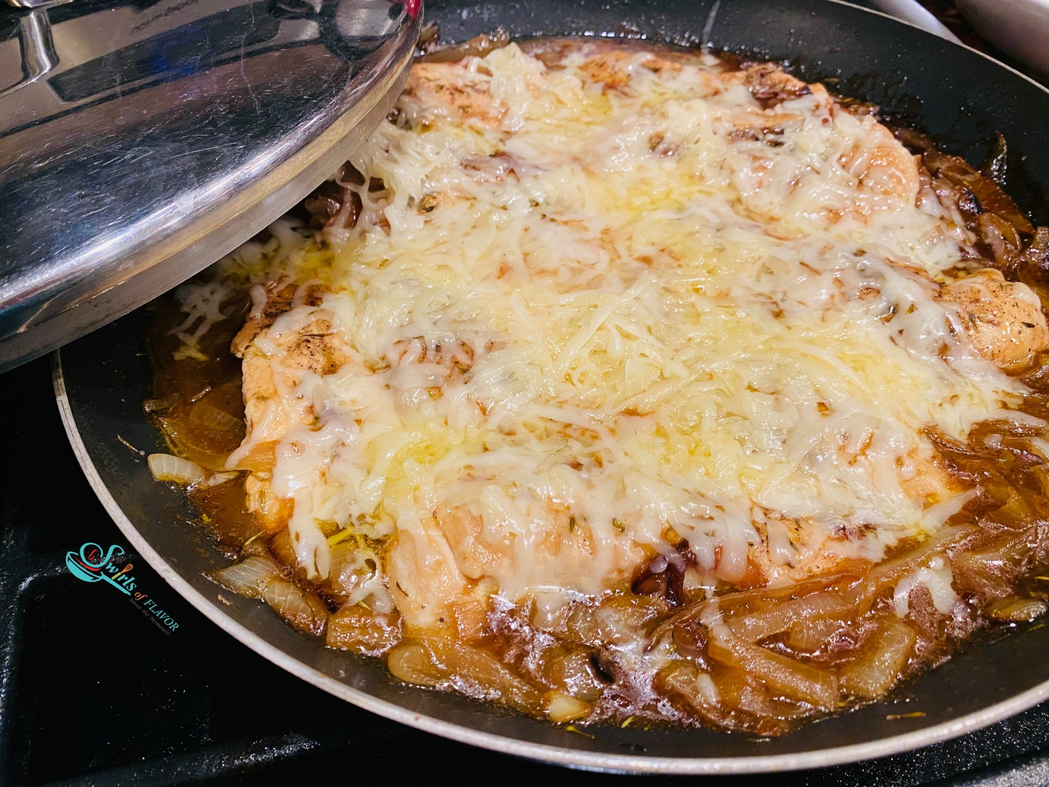 French Onion Chicken with melted cheese