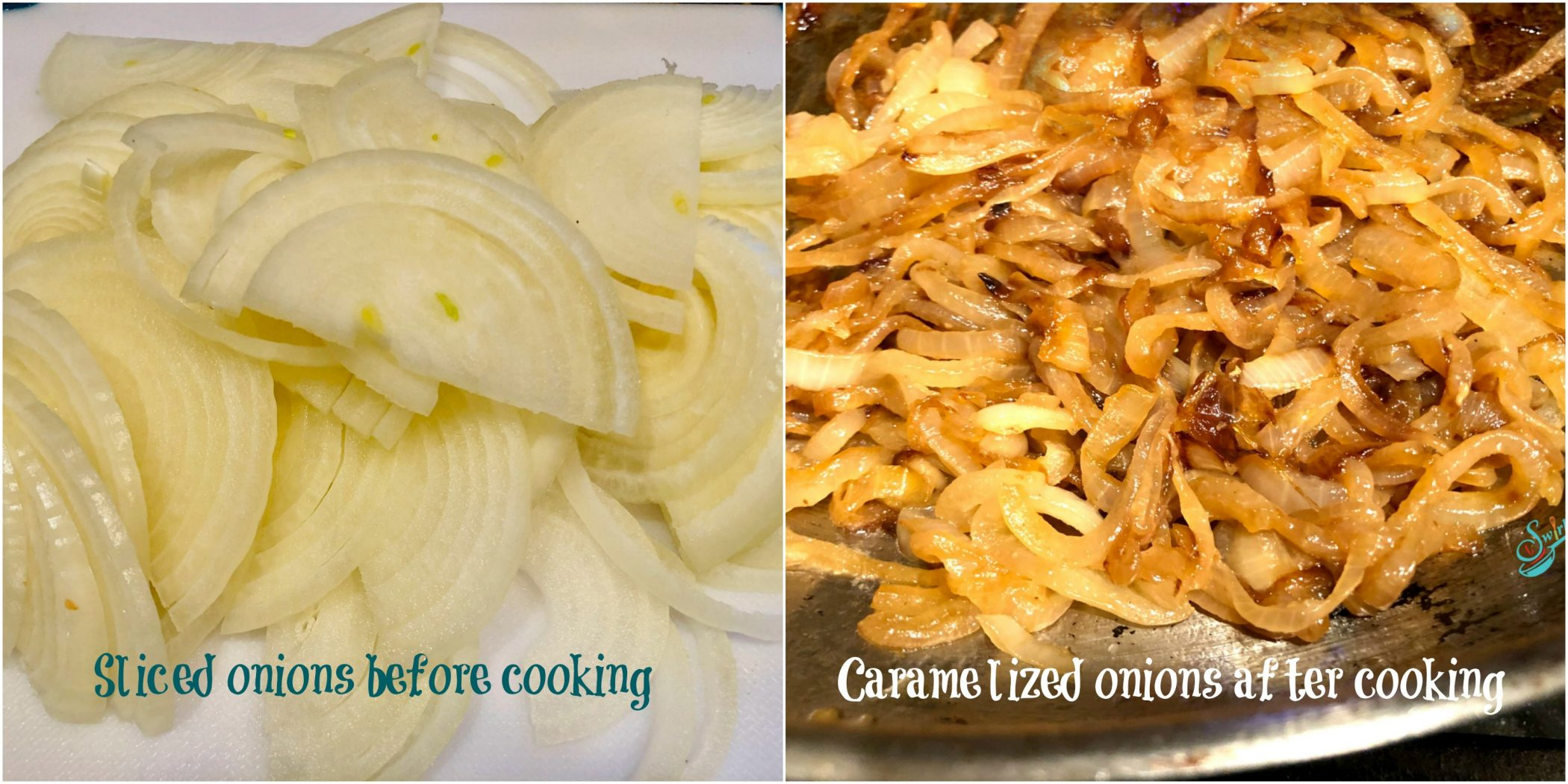 Onions before and after caramelizing