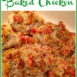 baked chicken with tomatoes and text overlay