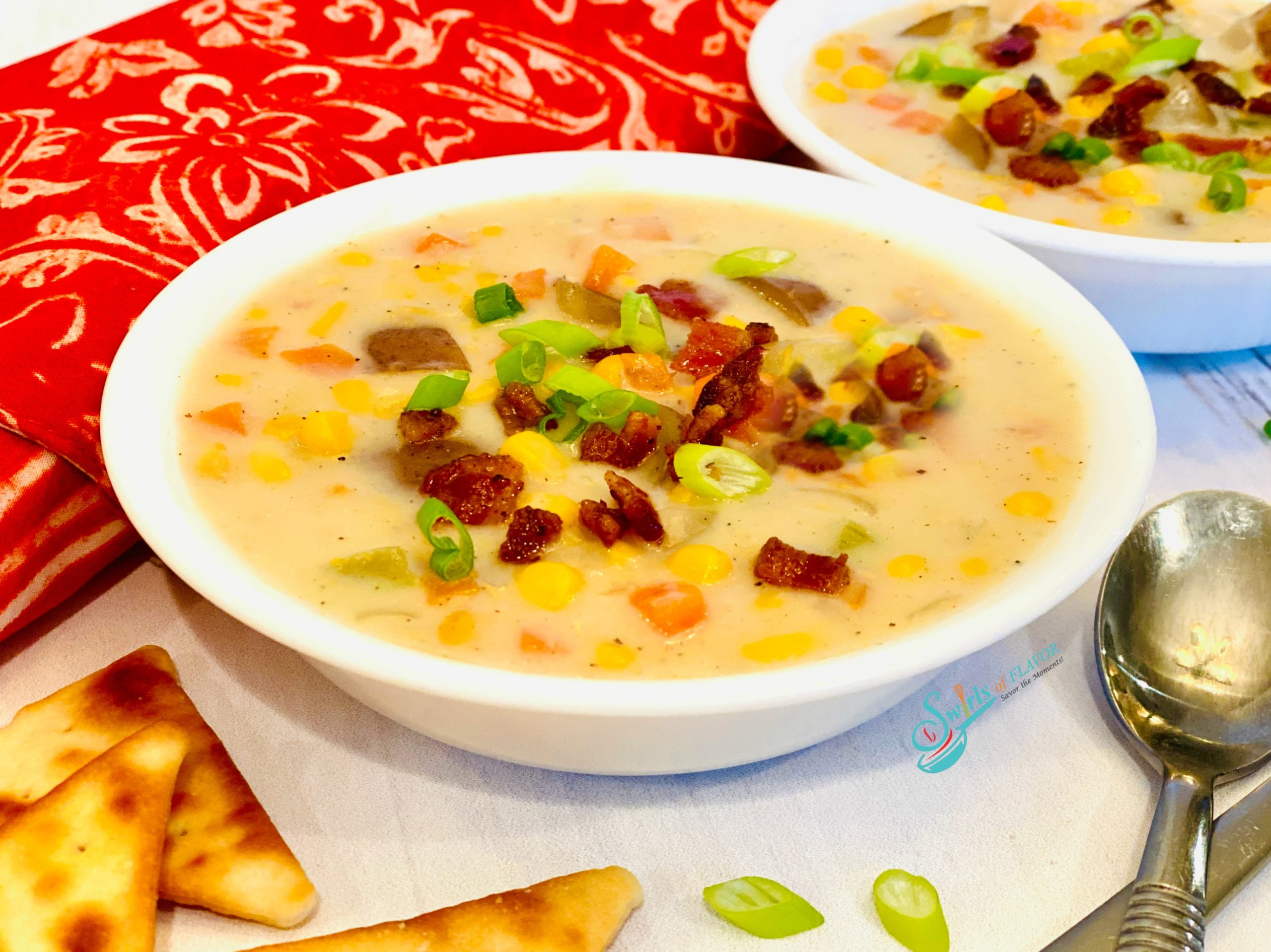 Creamy Corn Chowder with Bacon in a bowl