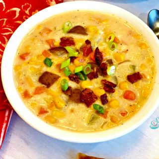 creamy corn chowder in a bowl