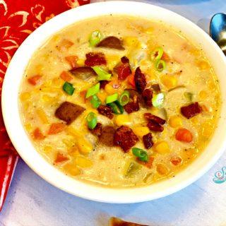 creamy corn chowder in a bowl