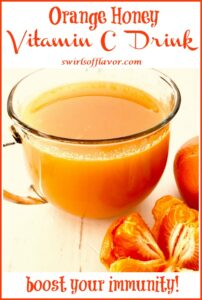orange vitamin drink wtith orange segments and text overlay