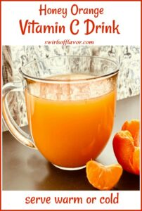 vitamain C drink in mug with text overlay