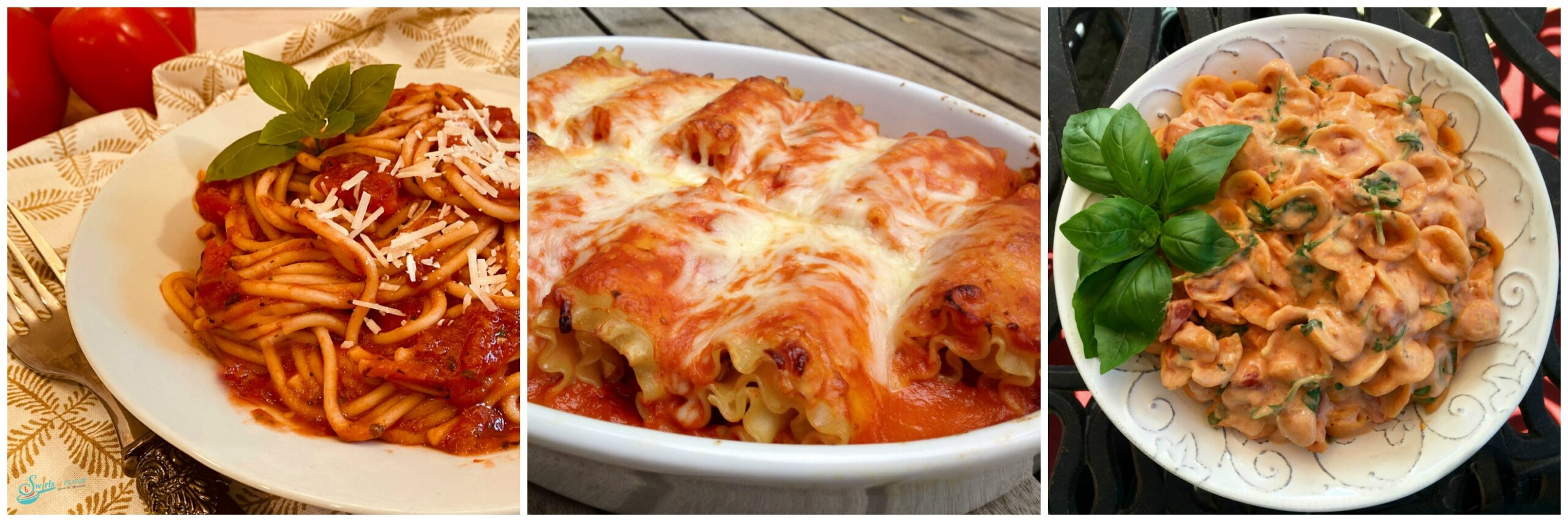 Bowl of spaghetti; Baking dish of lasagna roll ups; creamy tomato pasta in white bowl