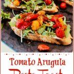 Close up of tomato toasts pinterest image