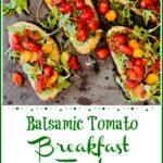 Overhead of tomato toasts on grey slate pinterest image