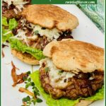 Three onion burgers on a white platter with recipe name in box
