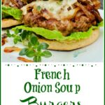 French Onion Burger with cheese on an English muffin with fresh thyme sprig and recipe name