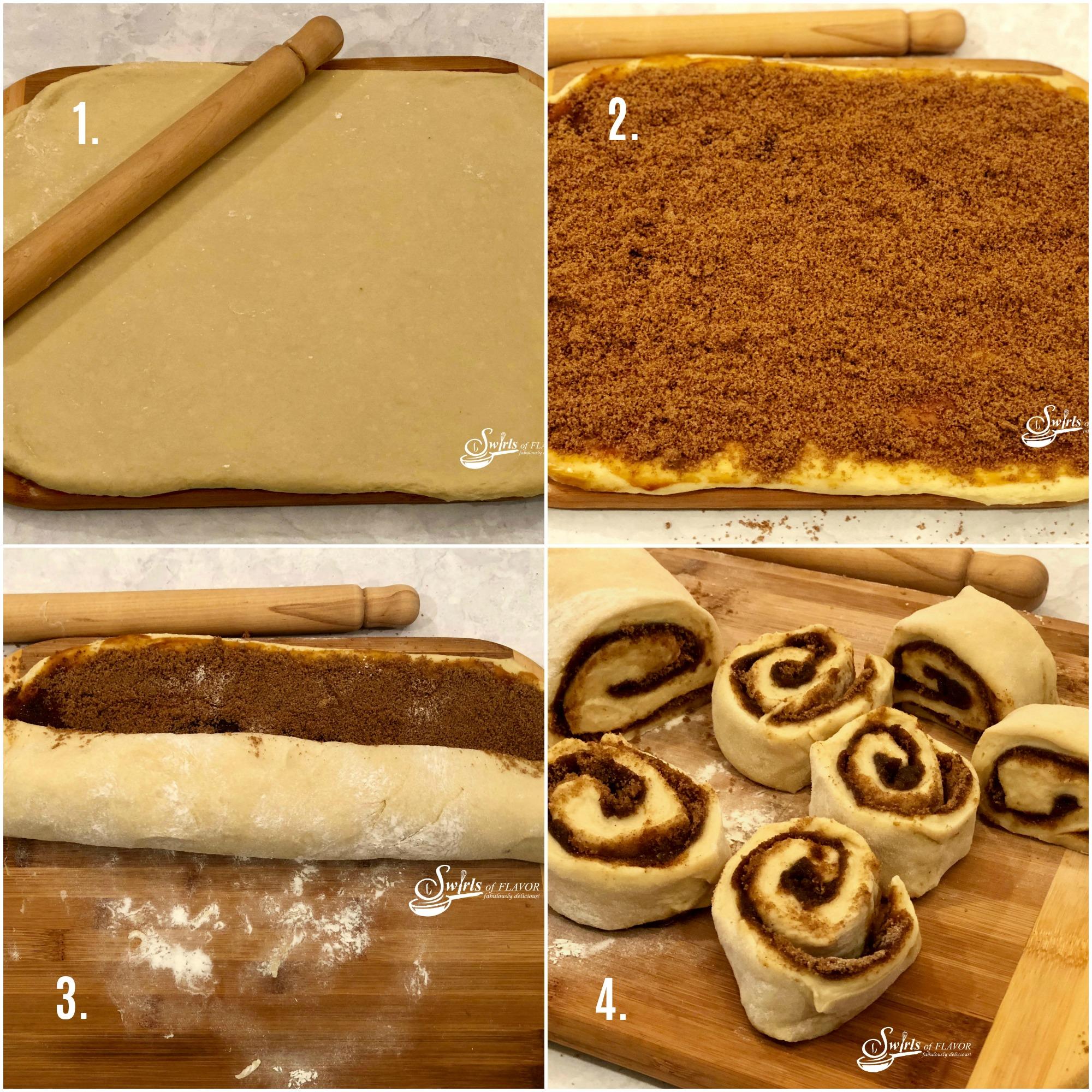 Steps for making cinnamon rolls
