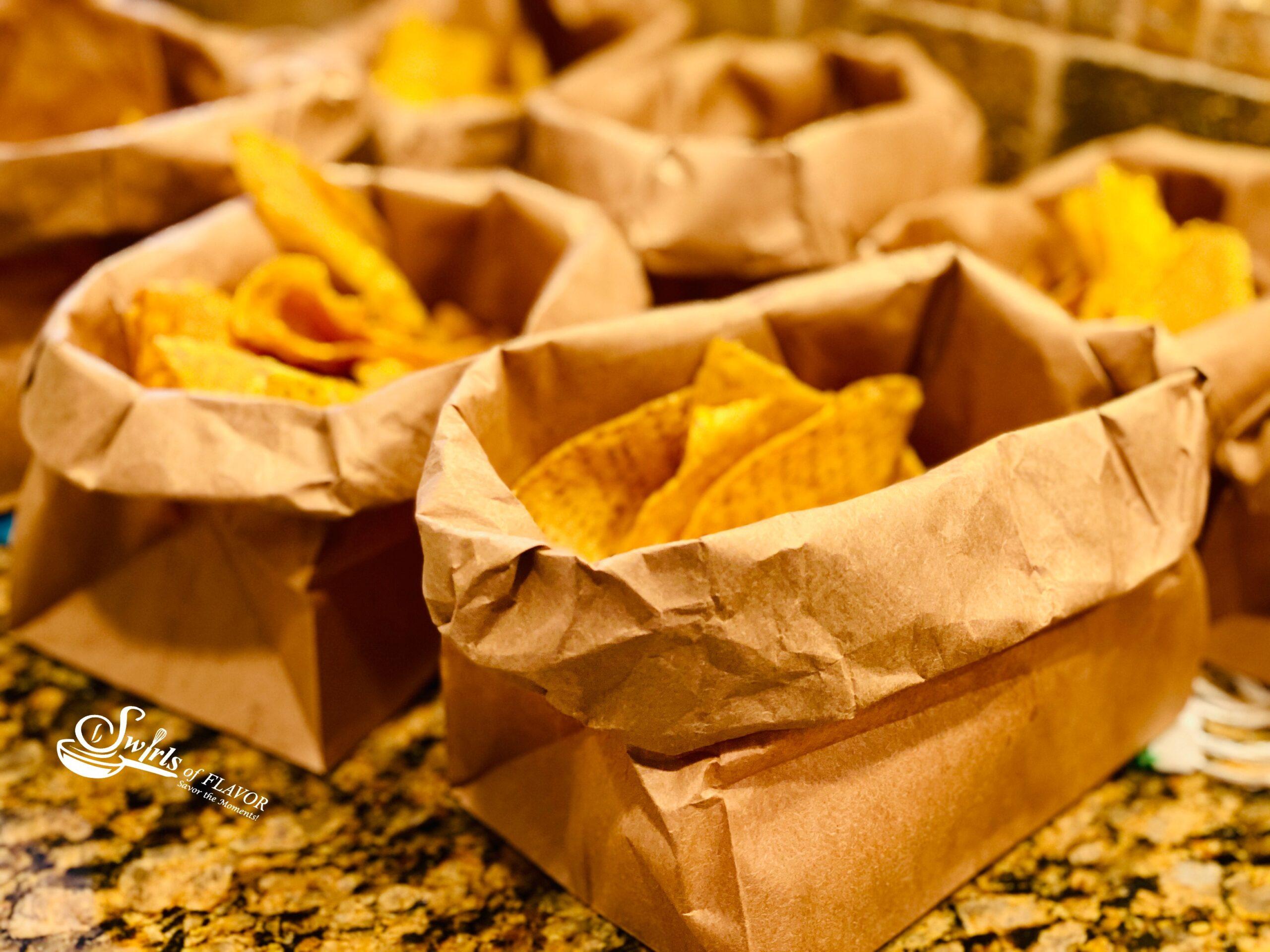 Tortilla Chips in brown paper bags