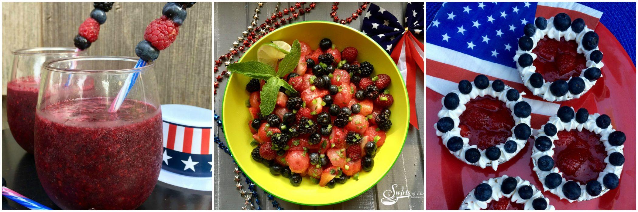 Left to Right: Berry Sangria Slushy; Jalapeno Lime Fruit Salad; Berry Tartlets