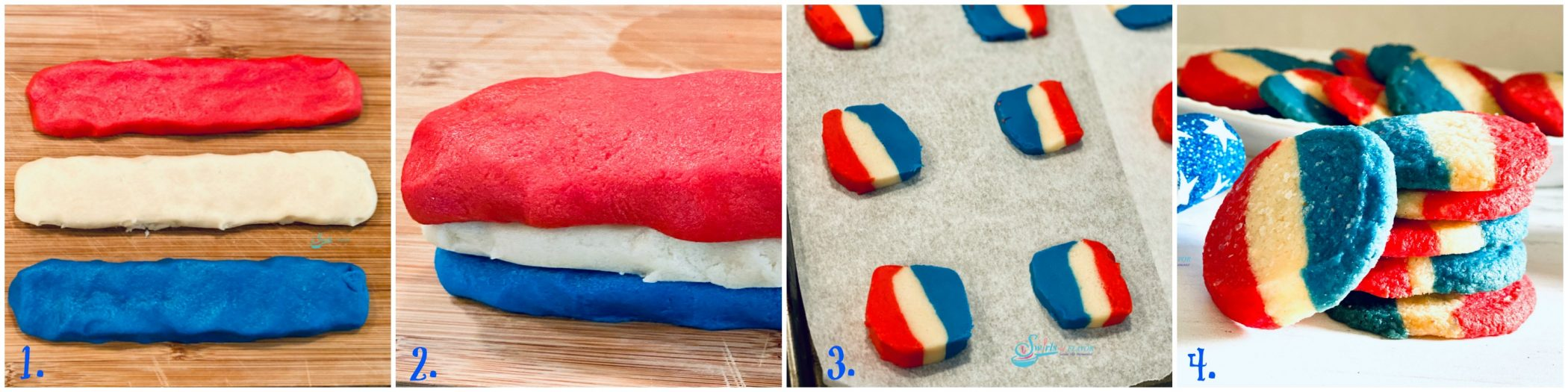 Steps for making red white and blue cookies