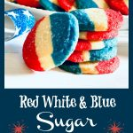 Stack of red white and blue cookies