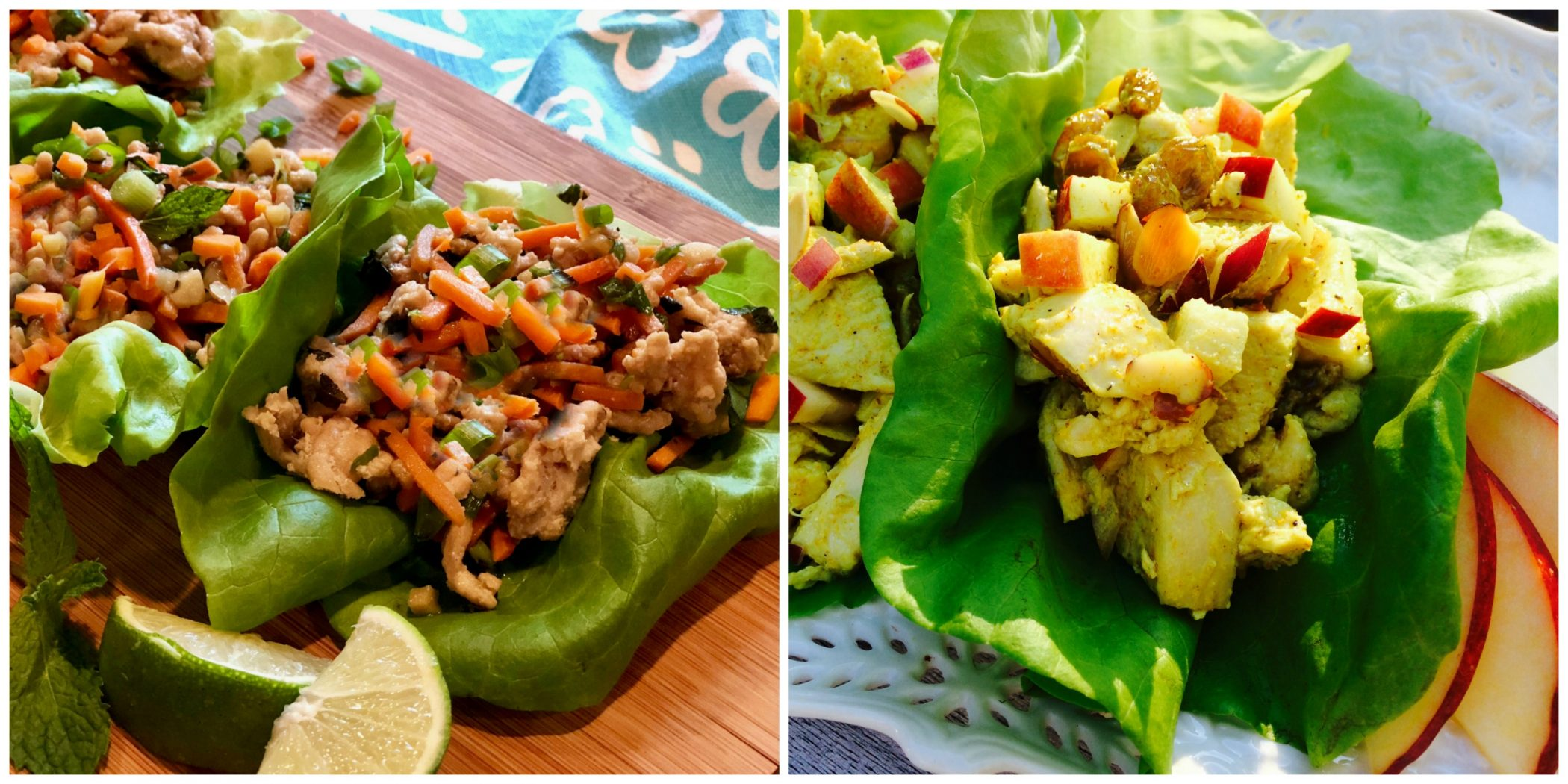 Thai chicken lettuce wraps and Curry chicken lettuce wraps