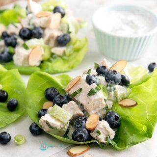 Chicken Salad with blueberries and almonds in a lettuce leaf