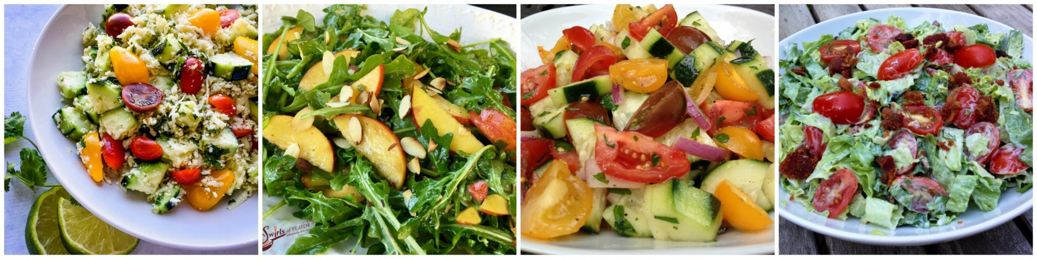 Left to Right: Cauliflower Rice Salad; Peach Arugula Salad; Cucumber Tomato Salad; BLT Salad