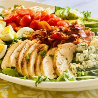 Cobb Salad in a white oval platter