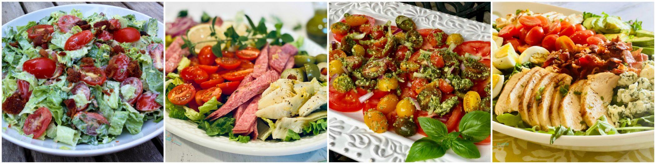Left to right: BLT Salad; Italian Chopped Salad: Tomato Pesto Salad; Cobb Salad