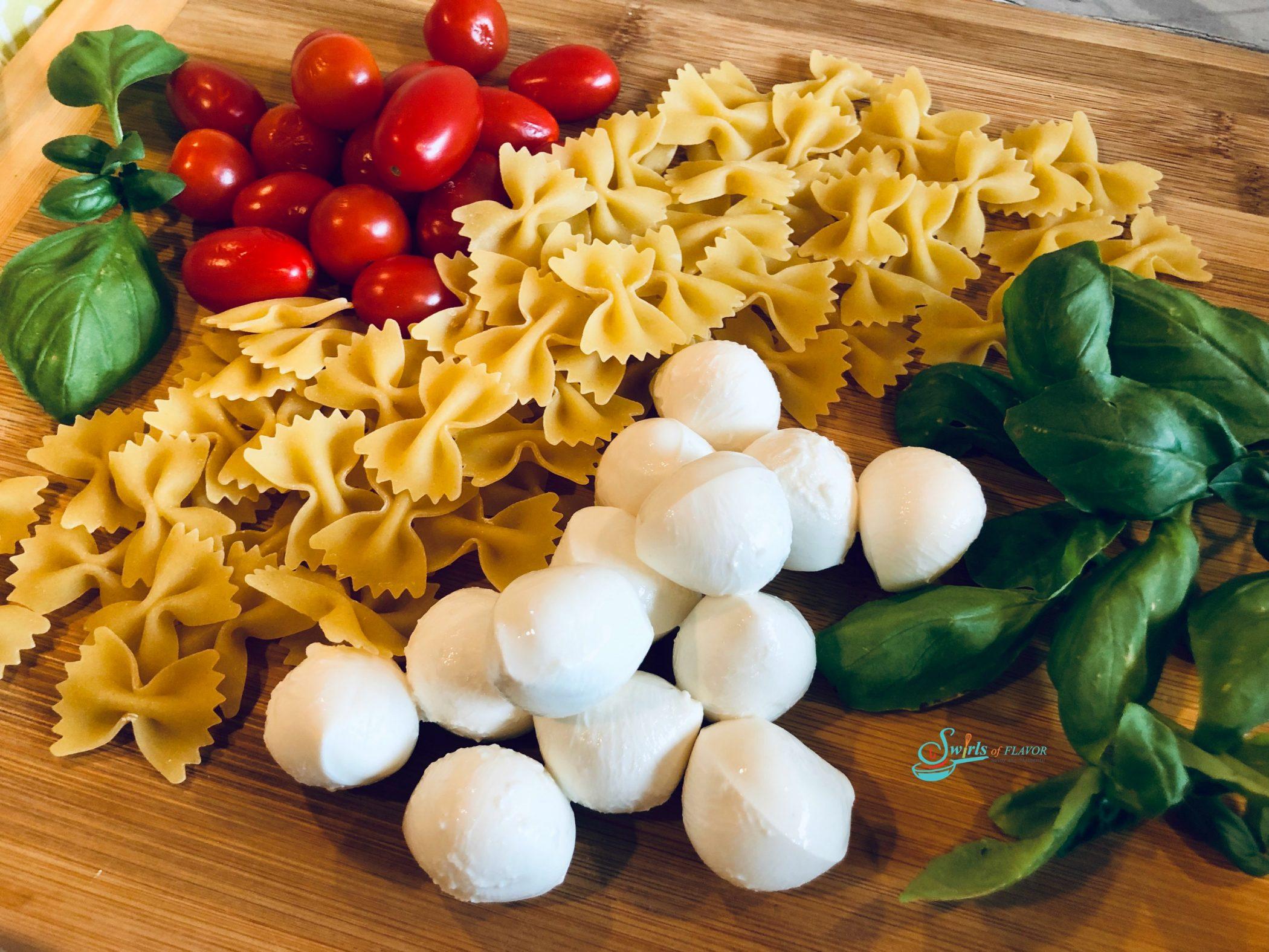 Ingredients for Caprese Pasta Salad recipe