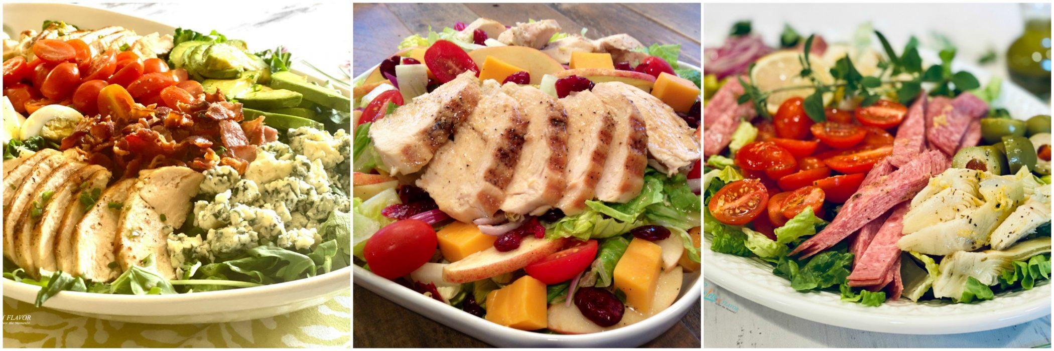 Left to Right: Cobb Salad; Apple Cheddar Chicken Salad; italian Chopped Salad