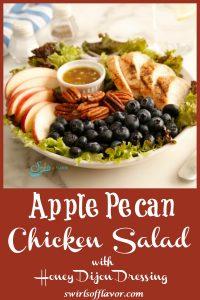 Bowl of apple pecan chicken salad with honey mustard salad dressing
