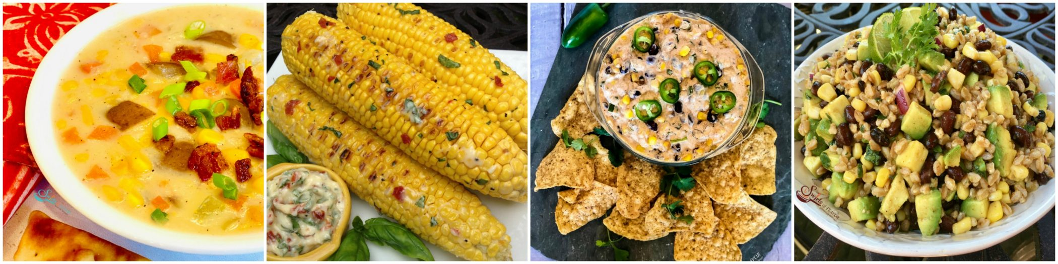 Left to right: Corn Chowder; Grilled Corn; Corn dip; Corn Farro Salad