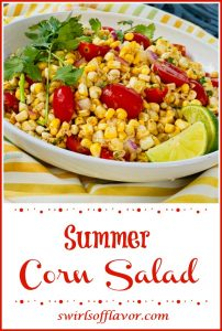 Dish filled with corn and tomato salad