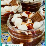 S'mores pudding in mini mason jars
