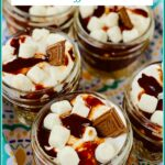 S'mores pudding in mason jars
