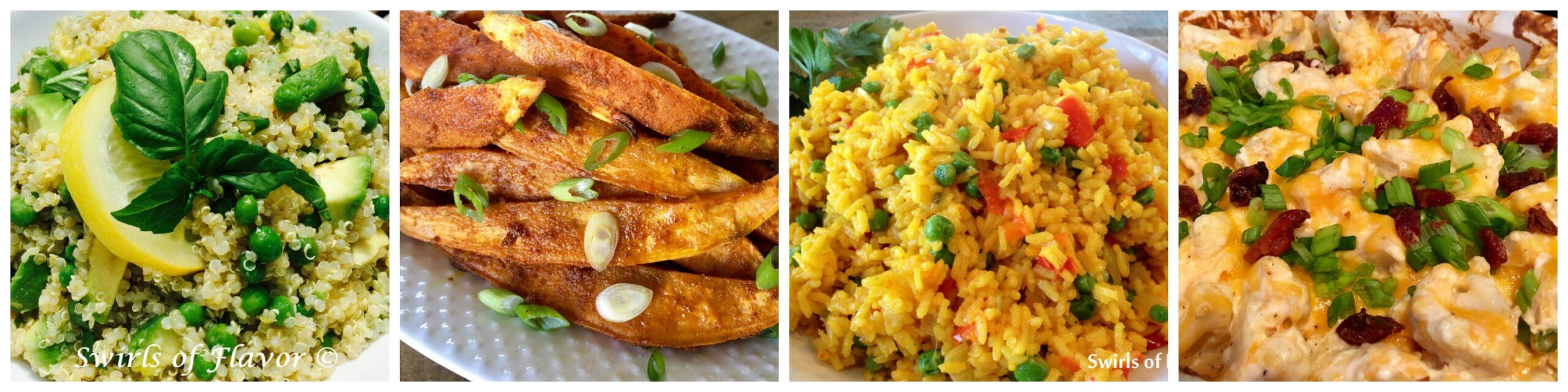 Left to right: Avocado Quinoa; Baked Sweet Potato Fries; Saffron Rice: Baked Cauliflower