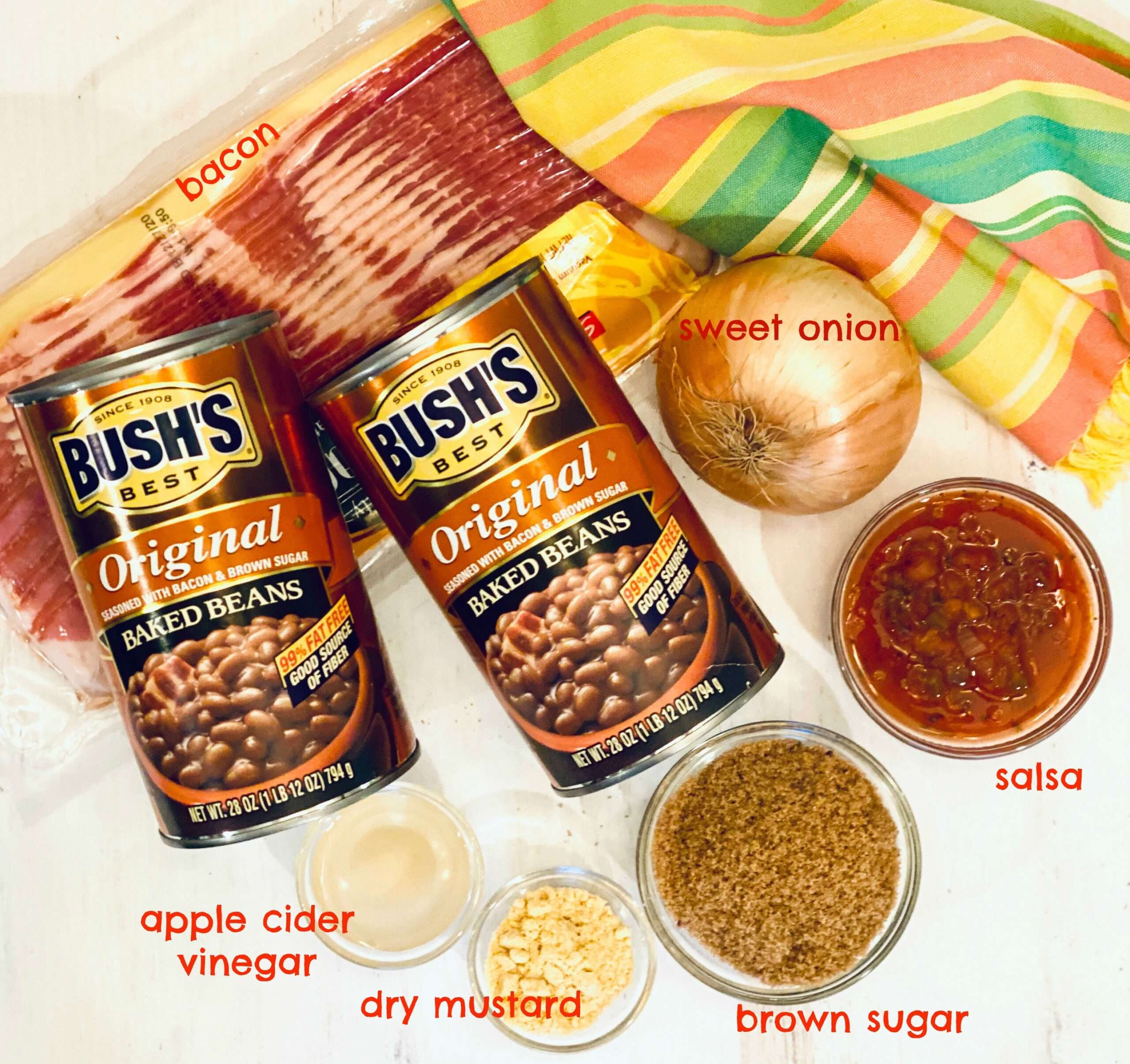 Ingredients to make Baked Beans with Bacon