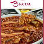 baked beans with spoonful of beans and text overlay