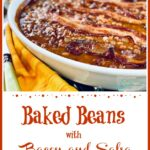 bacon baked beans with yellow napkin and text overlay