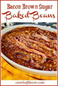 Salsa Baked beans and bacon with text overlay