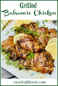 grilled chicken with lemons, oregano and text overlay