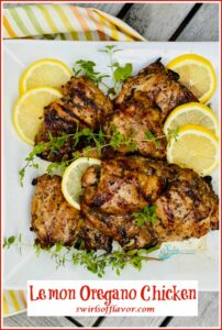 lemon oregano chicken with text overlay