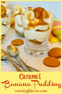 caramel sauce drizzled over layered banana pudding made from pudding mix and text overlay