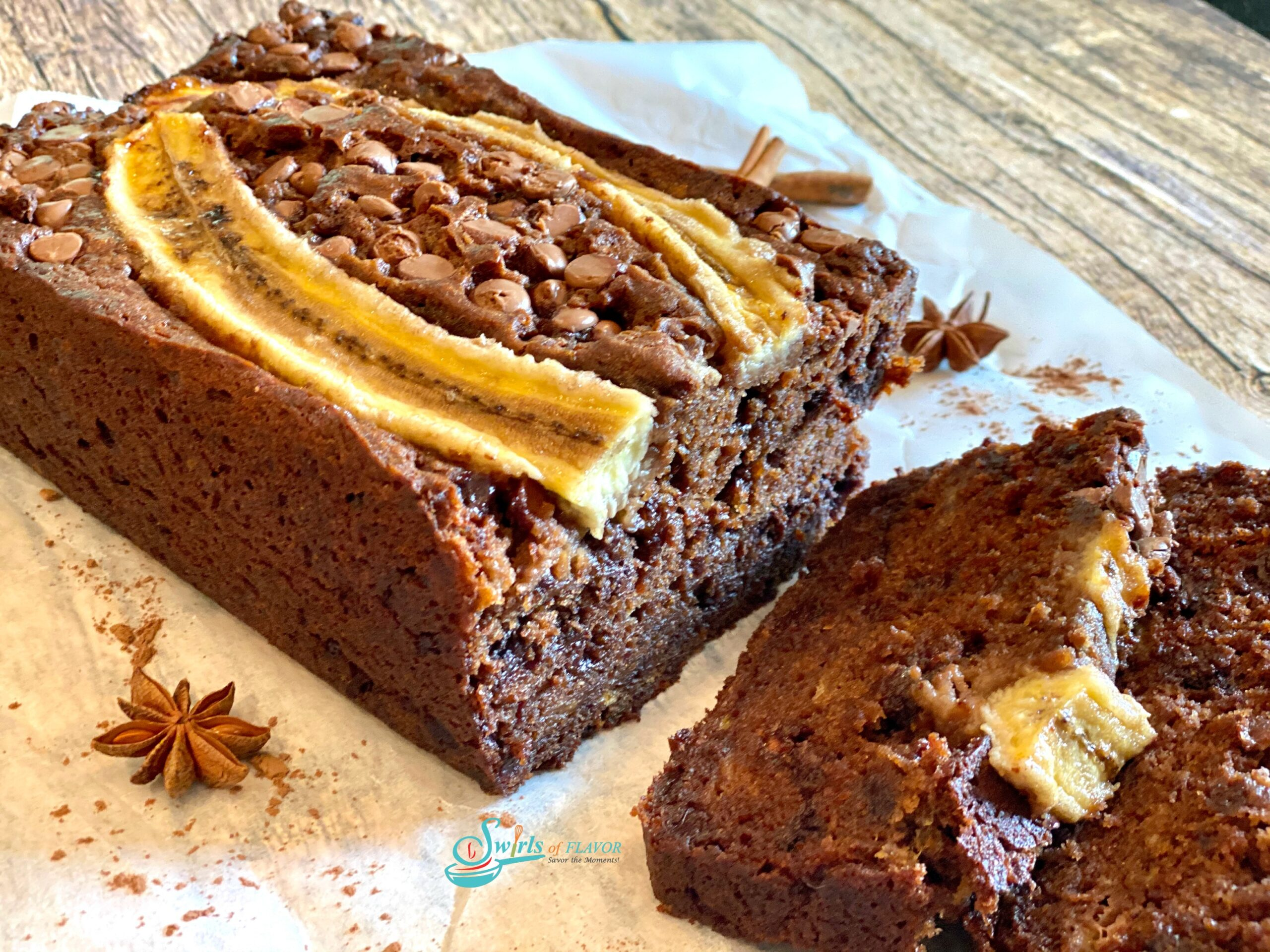 Chocolate Chip Banana bread with slices