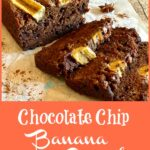 slices of chocolate chip banana bread with text overlay