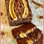 chocolate banana bread with slices and text overlay