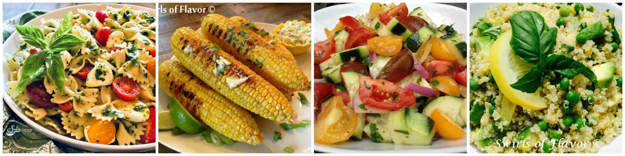 Left to Right: Pasta Salad; Grilled Corn; Cucumber Salad; Quinoa Salad