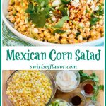 corn salad in white bowl with picture of ingredients and text overlay