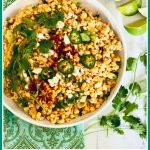 corn salad with fresh limes and cilantro and text overlay