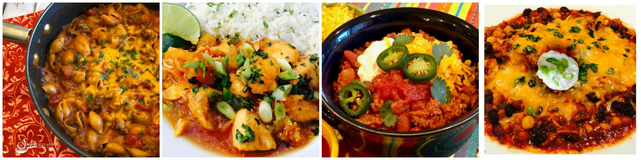 Left to Right: One Pot Chili Mac and Cheese; Pineapple Chicken Chili; Best Ever Quick Chili; Slow Cooker Chili