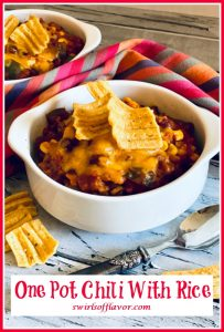ground beef chili in white bowl with text overlay
